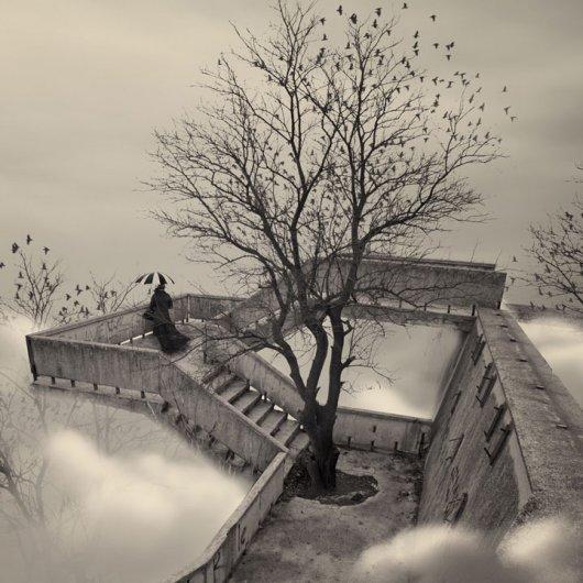 Фотомонтаж в черно-белых тонах