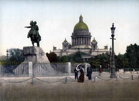 Неизвестный автор. Санкт-Петербург. Площадь Петра Великого. 1900 – 1910-е. Фотохром