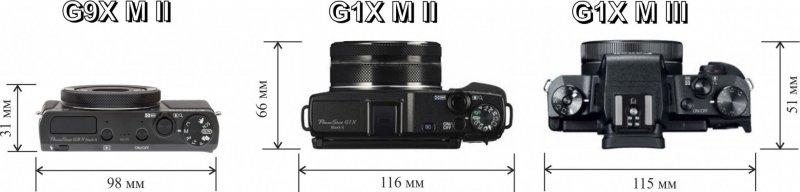 Сравнение размеров компактных камер премиум-класса Canon G9X Mark II, Canon G1X Mark II и Canon G1X Mark III