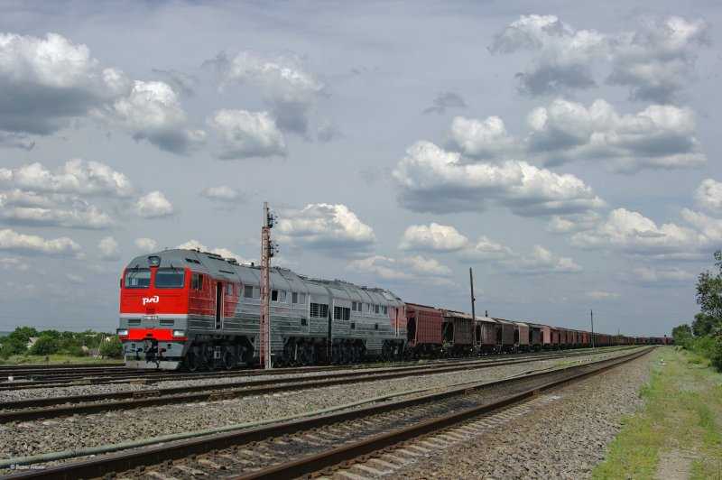 Diesel locomotive 2TE116U-0135 with cargo train on