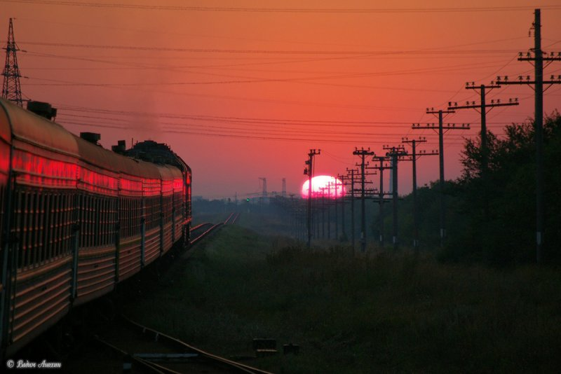 Sunrise near train station Molochansk, Ukraine