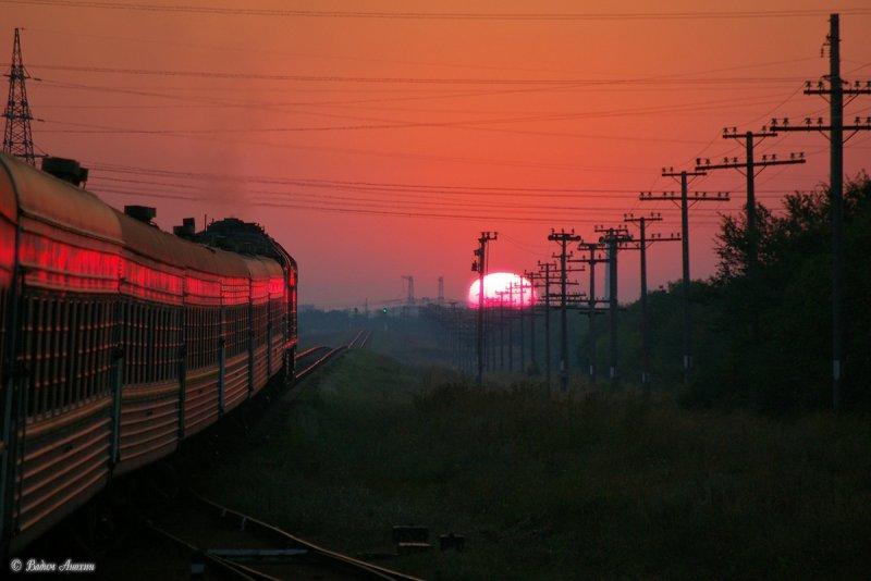 Sunrise near train station Molochansk, Ukraine