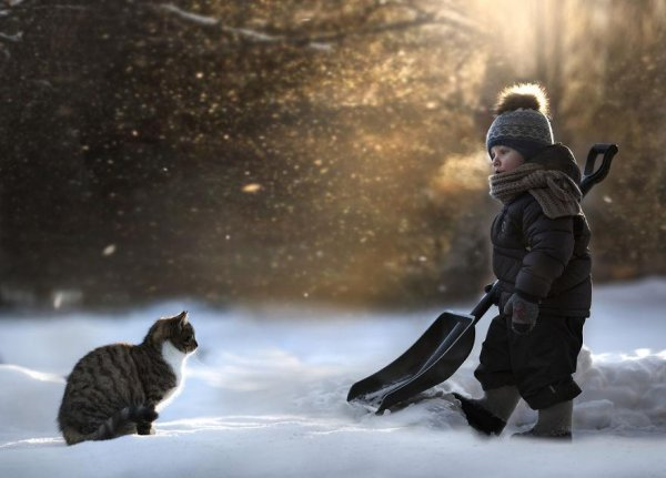 Очаровательные фото кадры - дети и животные - №12