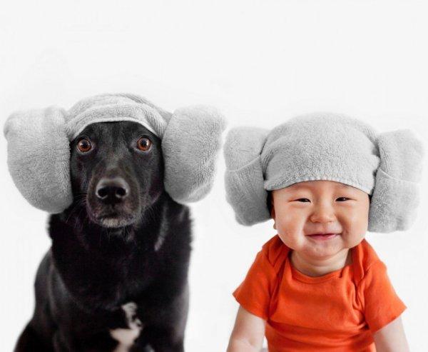 Домашние портреты малыша и верного пёсика